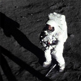 Neil Armstrong's first moonwalk