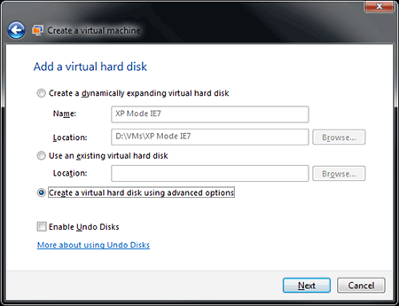 Configuring your VM hard disk