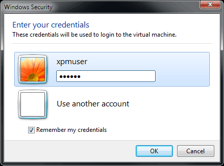 XPMUser password prompt