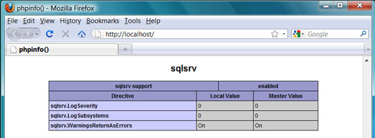 SQL Server information from phpinfo