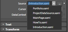 The Source property determines which XAML file the Frame will initially display at run time