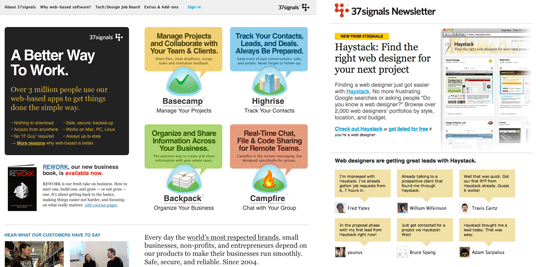 37signals home page and newsletter