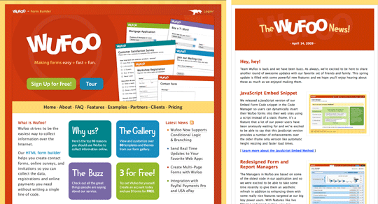 Wufoo home page and newsletter