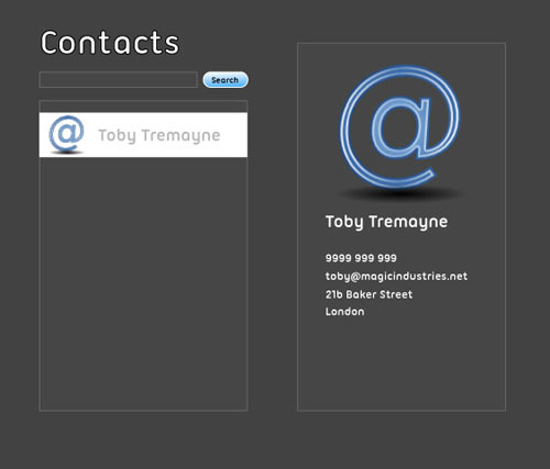 Contact application mockup