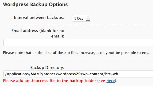 WordPress Backup Options form