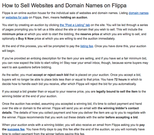 Flippa's basic help refers to auctions only