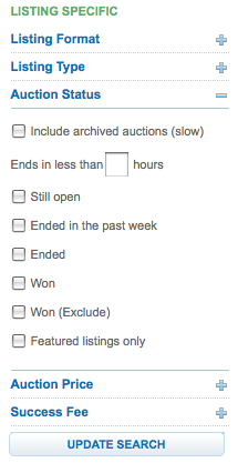 Flippa search function mentions auctions only