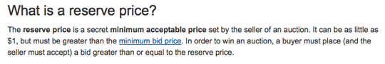 Wording around the concept of the reserve price