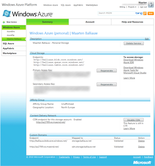 Using the Windows Azure CDN