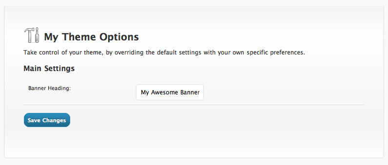 The Options form with our new custom CSS