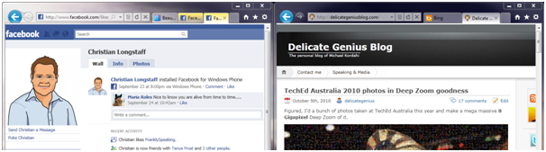 Tabs can be split off and color coded (in this case the Facebook tabs are in yellow) to keep related sites together