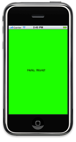 "Our bright-green ""Hello, World!"" app"