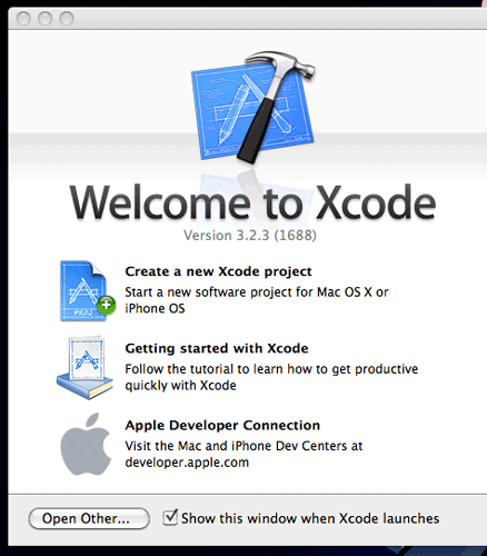 Xcode's welcome screen