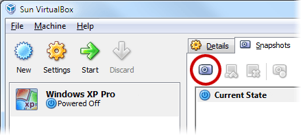 VirtualBox Snapshots tab