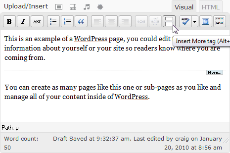 WordPress editing pane showing 'more' button