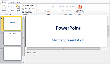 MS Office PowerPoint Web App