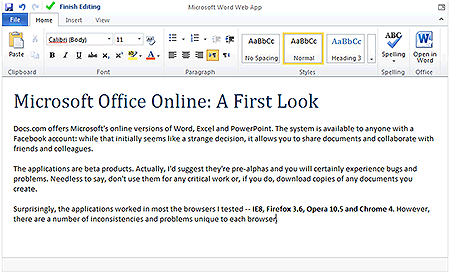 MS Office Word Web App