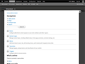 Drupal 7 administration screen