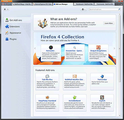 Firefox 4 add-ons manager