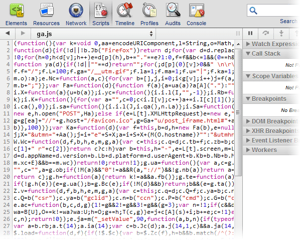 Chrome script debugger
