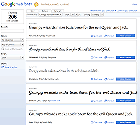 Google Web Fonts screenshot