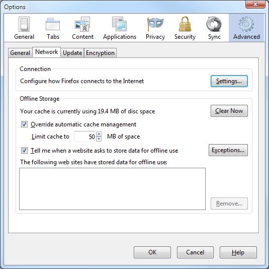 Firefox 6 cache options