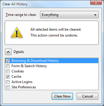 Firefox 6 clear history