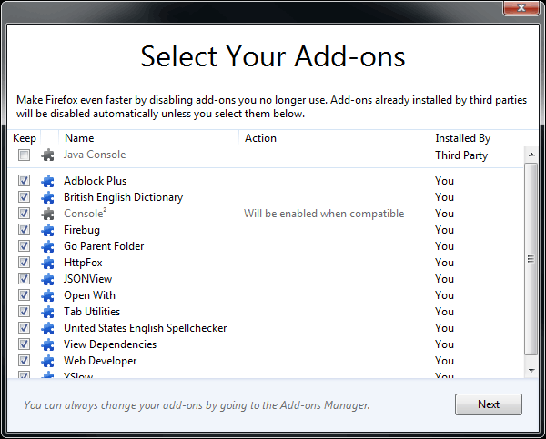 Firefox add-on selection