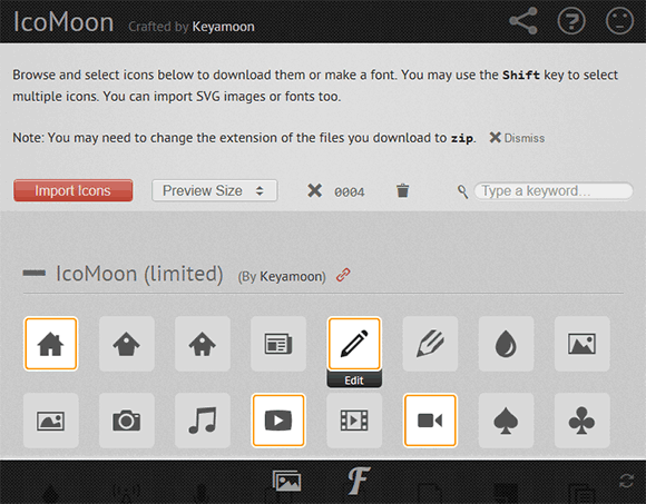IcoMoon icon browsing