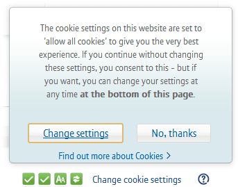 BT cookie pop-up
