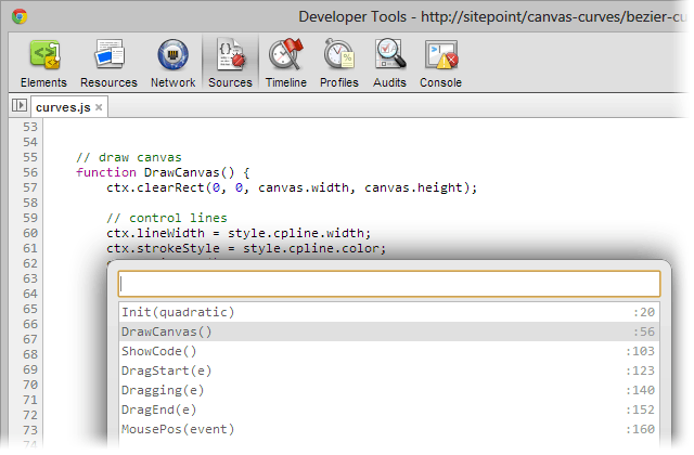 Chrome Developer Tools function list