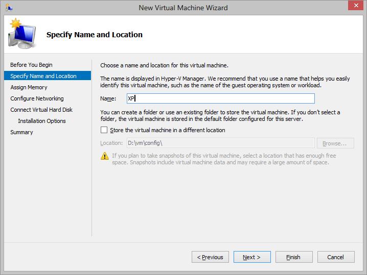 Hyper-V create VM wizard