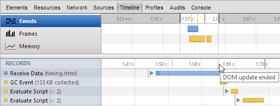 Webkit Inspector timeline