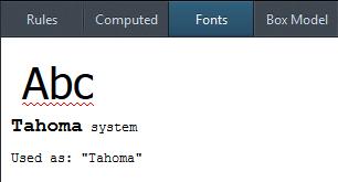 Firefox font inspector