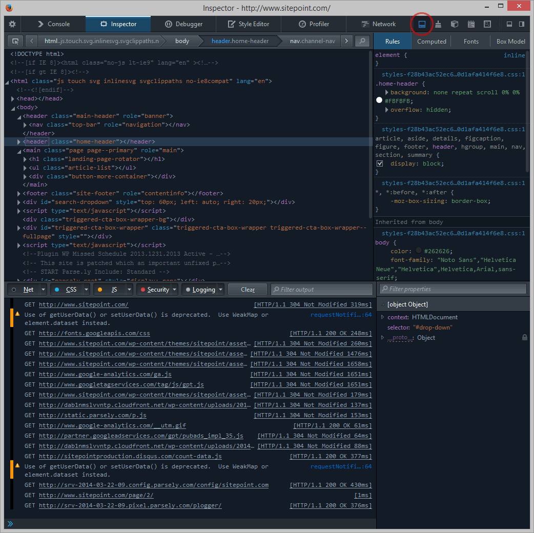 Firefox Developer Tools split console