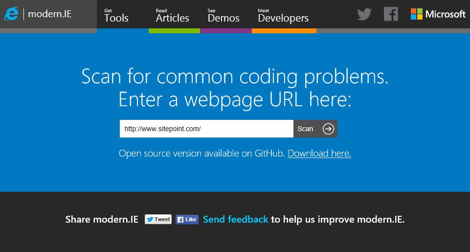 Quick Browser Screenshot Testing at Modern IE — SitePoint