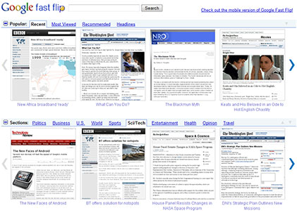 Google Fast Flip main screen