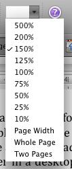 Microsoft Word's view size menu