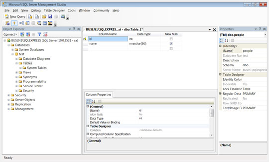 Creating a new database table