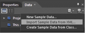 Use the Data panel to import an XML data source