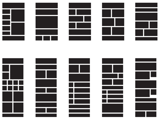 The most popular layout variations sent through Campaign Monitor