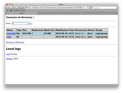 The HDFS in the browser