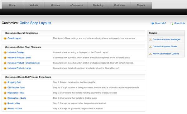 Customizing online shop layouts