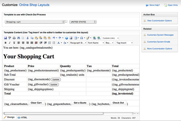 Editing the shopping cart page