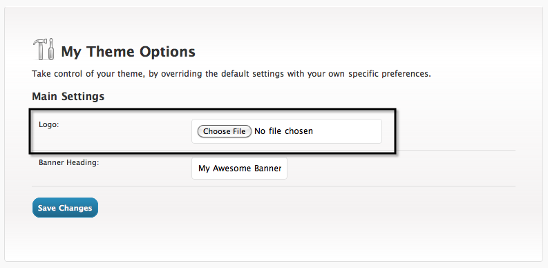 The file upload field for the logo option