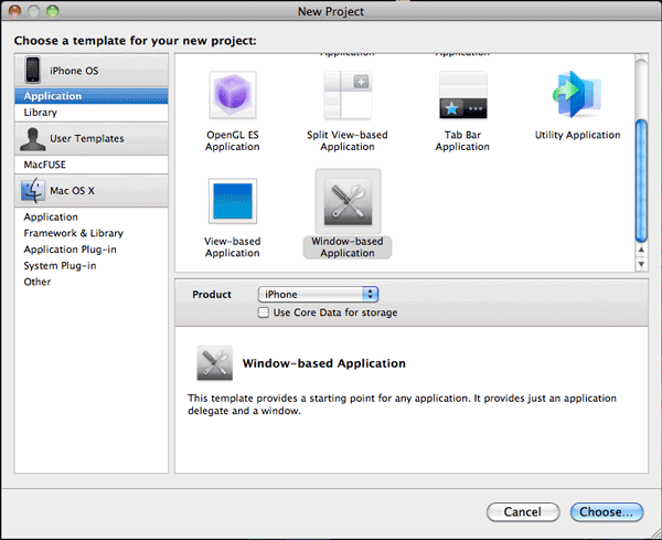 Xcode's New Project dialog