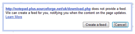 Google Reader create feed