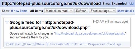 Google Reader feed