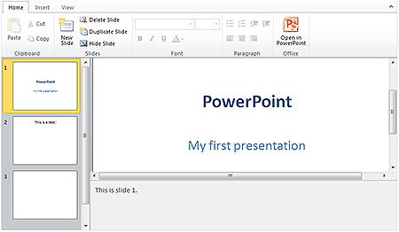 MS Office PowerPoint Web App