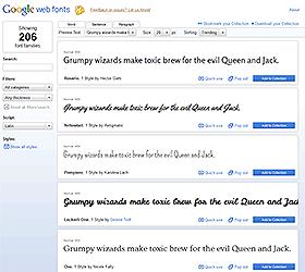 Google Web Fonts screenshot